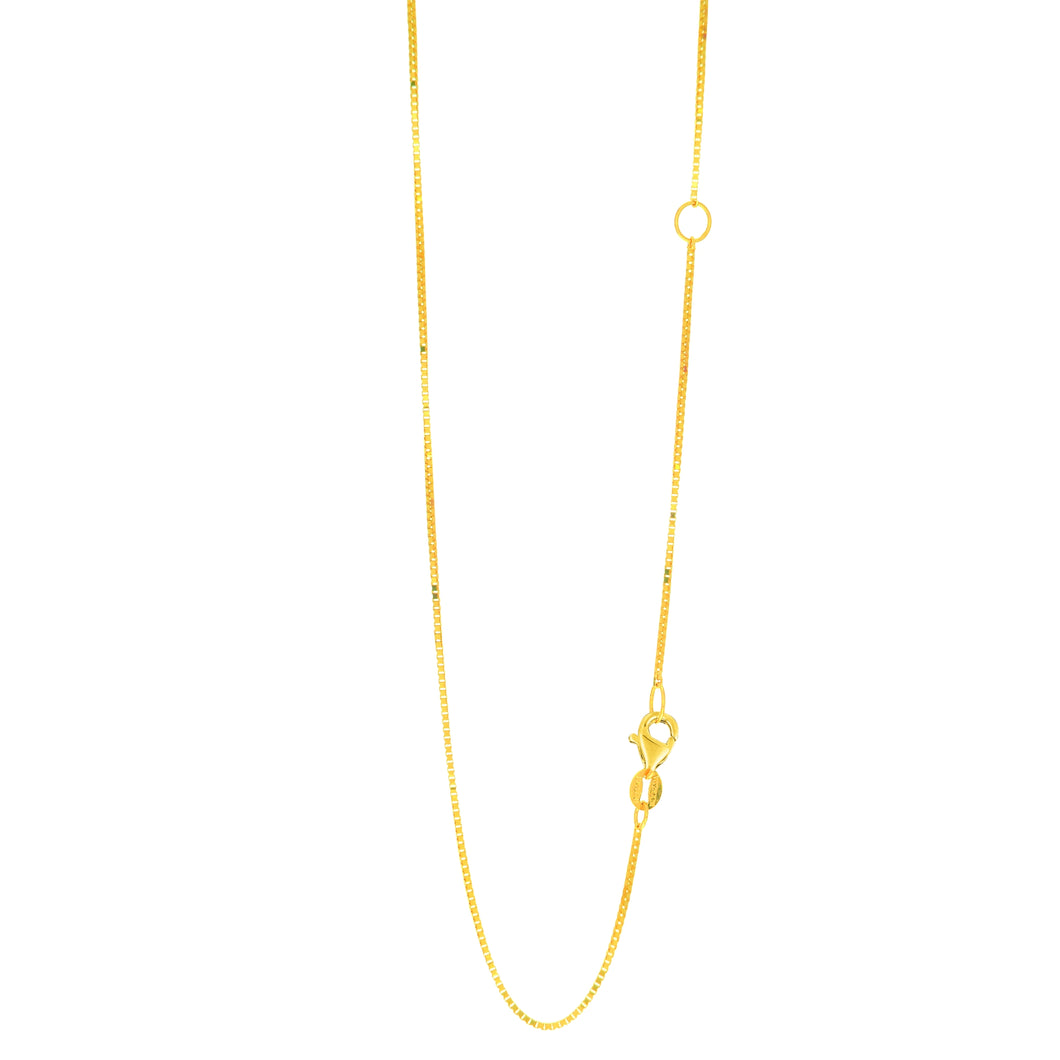 14kt 20 inches Yellow Gold 0.8mm Classic Box Chain with with Lobster Clasp with Extender at 18 inches