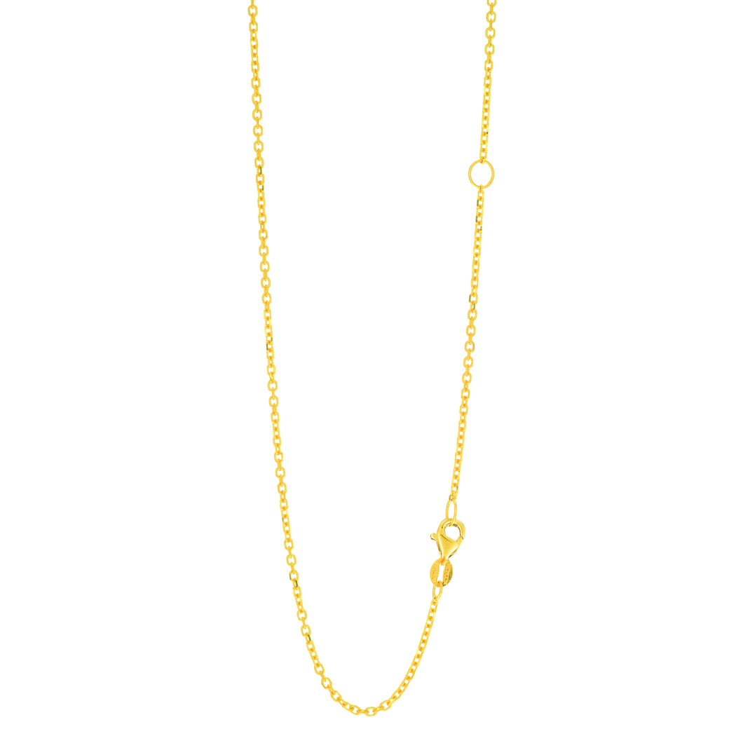 14kt 20 inches Yellow Gold 1.5mm Diamond Cut Classic Cable Chain with Lobster Clasp with Extender with Extender at 18 inches
