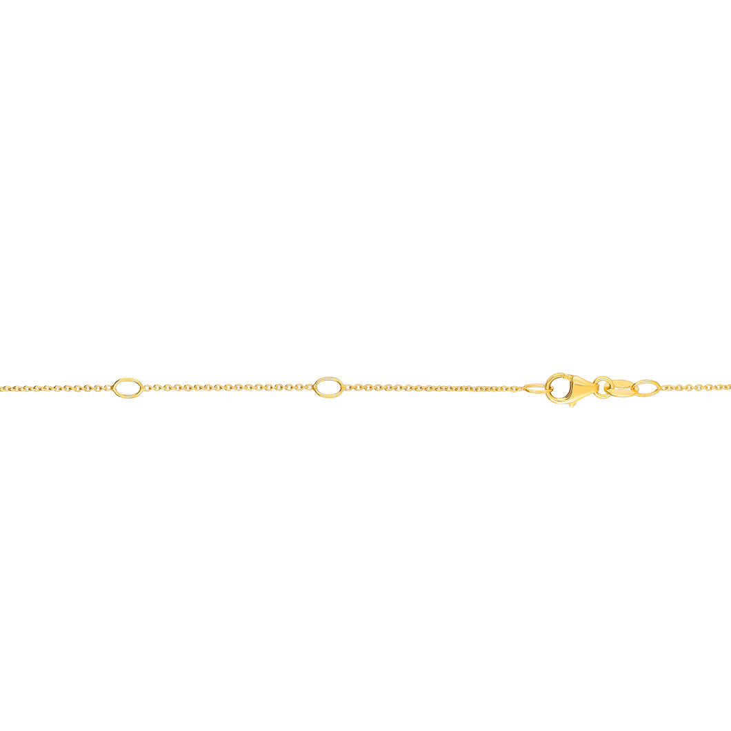 14kt Gold 18 inches Yellow Finish 0.7mm Shiny Extenders at 16 inches & 17 inches Cable Chain with Lobster Clasp