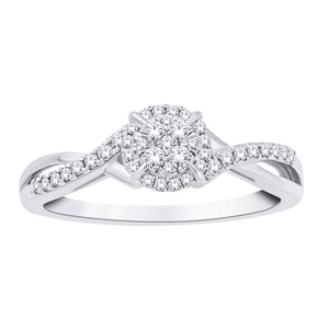 10K White Gold Round Diamond 1/4CT Round Halo Promise Ring