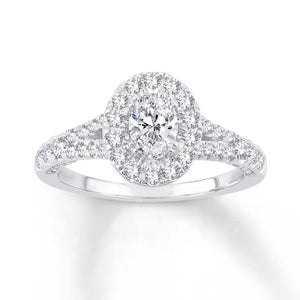 14K White Gold Oval Center & Round Diamond 1-1/5CT Halo Engagement Ring