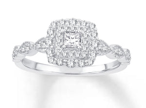 10K White Gold Princess Cut Center & Round Diamond 3/8CT Engagement Ring