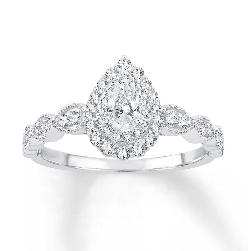 10K White Gold Pear Center & Round Diamond 3/8CT Double Halo Engagement Ring