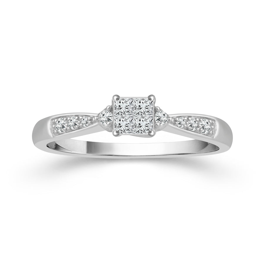 10K White Gold Princess Cut & Round Diamond 1/6CT Ring