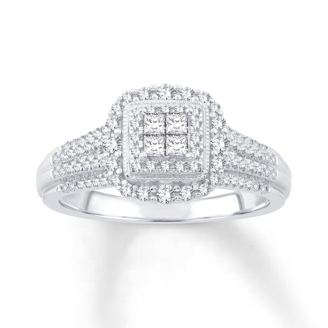10K White Gold Quad Center & Round Diamonds 1/2CT Halo Engagement Ring