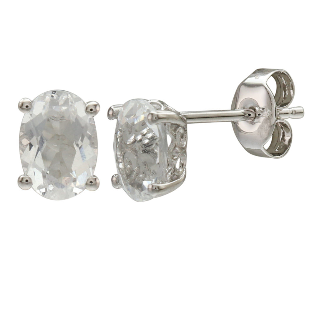 14K WHITE GOLD WHITE TOPAZ EARRING