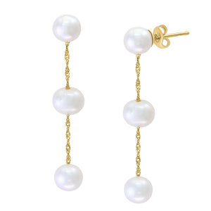 14K YELLOW GOLD WHITE FRESH WATER PEARL EARRING