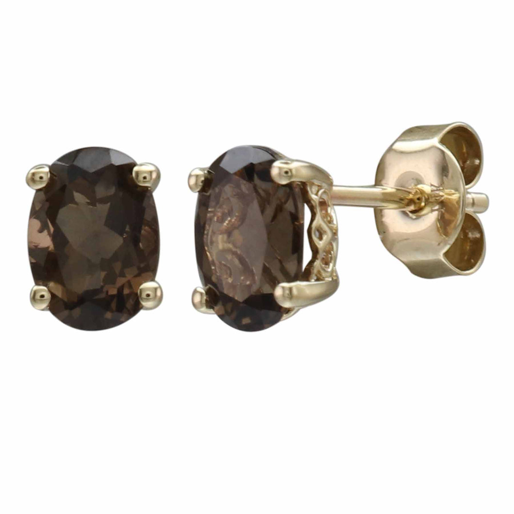 14K YELLOW GOLD SMOKY QUARTZ EARRING