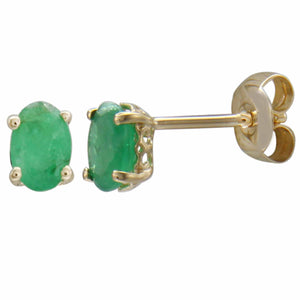14K YELLOW GOLD EMERALD EARRING