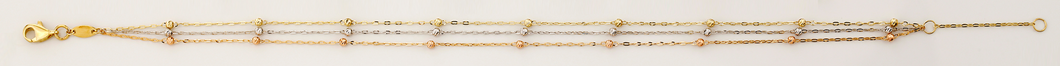 14K Tri-Color, Three Strand, Diamond Cut Beads Anklet or Bracelet