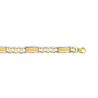 14K Two Tone 10MM Rolex Style Bar and Railroad Bracelet