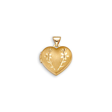 10K Yellow Gold Heart Locket with Engraved Flowers