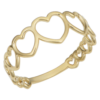 14K Yellow Gold Graduated Heart Ring