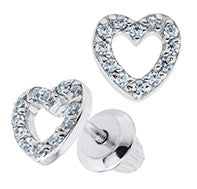 Sterling Silver Round Cubic Zirconia Open Heart Kids Earrings