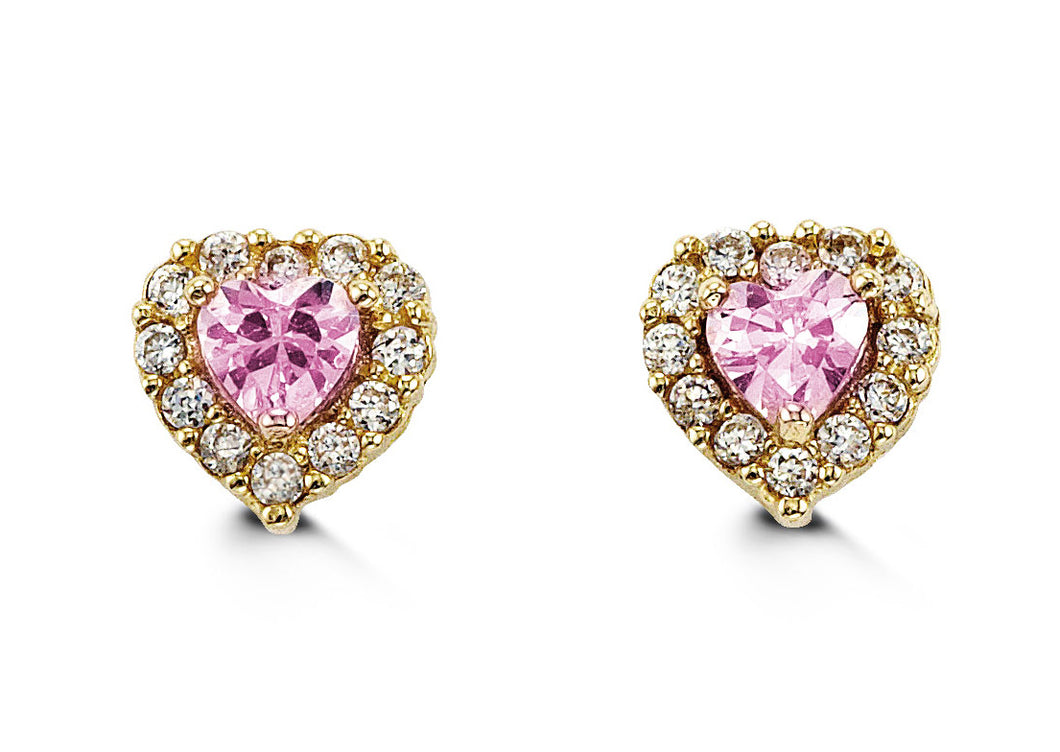 14K Yellow Gold Heart Shape Pink and Round White Cubic Zirconia Kids Earrings