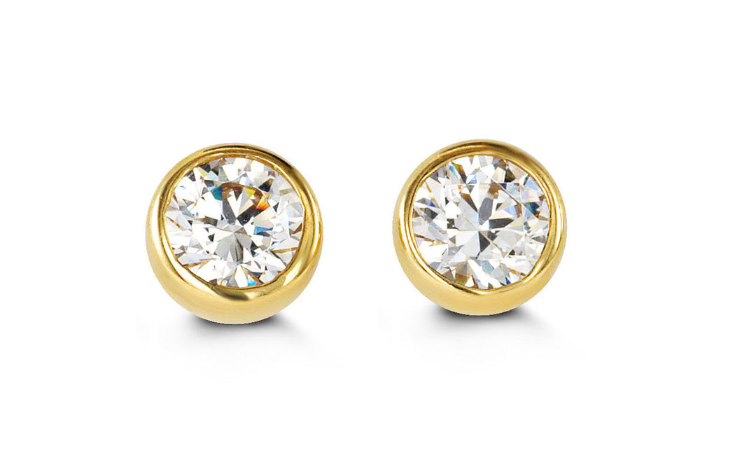 14K Yellow Gold Round Cubic Zirconia Stud Kids Earrings