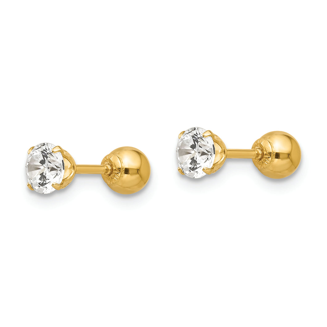 14K Yellow Gold Round Cubic Zirconia 4MM Ball Kids Earrings