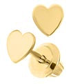 14K Yellow Gold Solid Heart Stud Kids Earrings