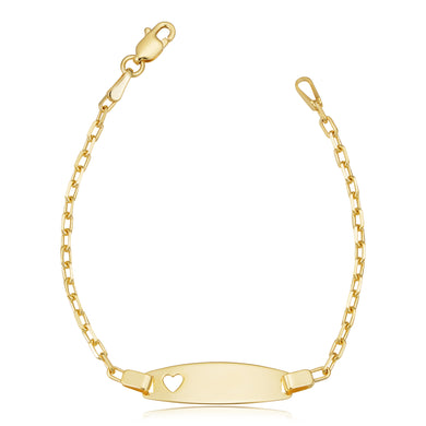 14K Yellow Gold Cutout Heart ID Kids Bracelet