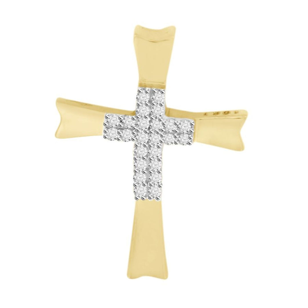 10K Yellow Gold Round Diamond Cross Kids Pendant