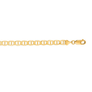 14kt 22 inches Yellow Gold 6.3mm Diamond Cut Mariner Link Chain with Lobster Clasp