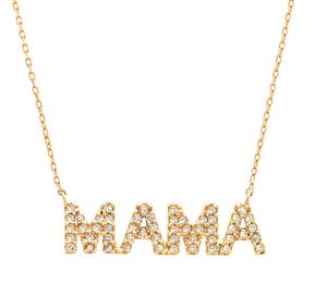 "14K Yellow Gold, Round Diamond ""MAMA"" Necklace"
