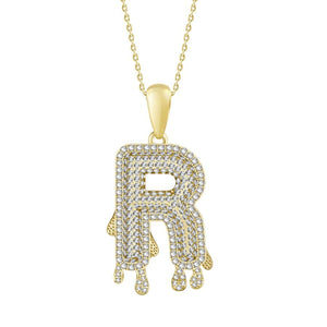 "10K Yellow Gold Round Diamond 1/3CT ""R"" Dripping Pendant"