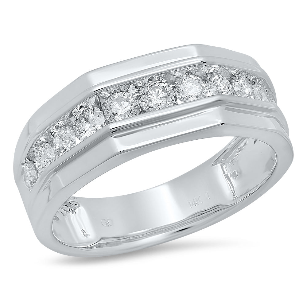 14K White Gold, Eleven Round Diamond 1CT Channel Set Gents Ring