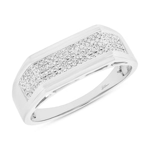14K White Gold Round Diamond 1/4CT Cluster Gents Ring