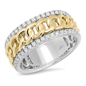 14K Two Tone Round Diamond 5/8CT Curb Link Center Ring
