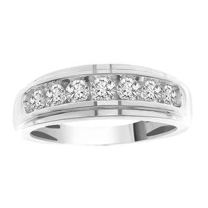 10K White Gold Round Diamond 3/4CT Mens Ring