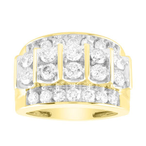 10K Yellow Gold Round Diamond 3CT Gents Ring
