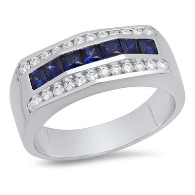 14K White Gold, Princess Cut Sapphire and Round Diamond Channel Set Gents Ring