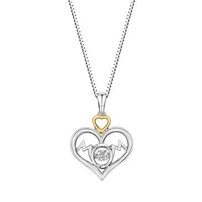 Sterling Silver/Yellow Plated Round Diamond Mom Heart Pendant