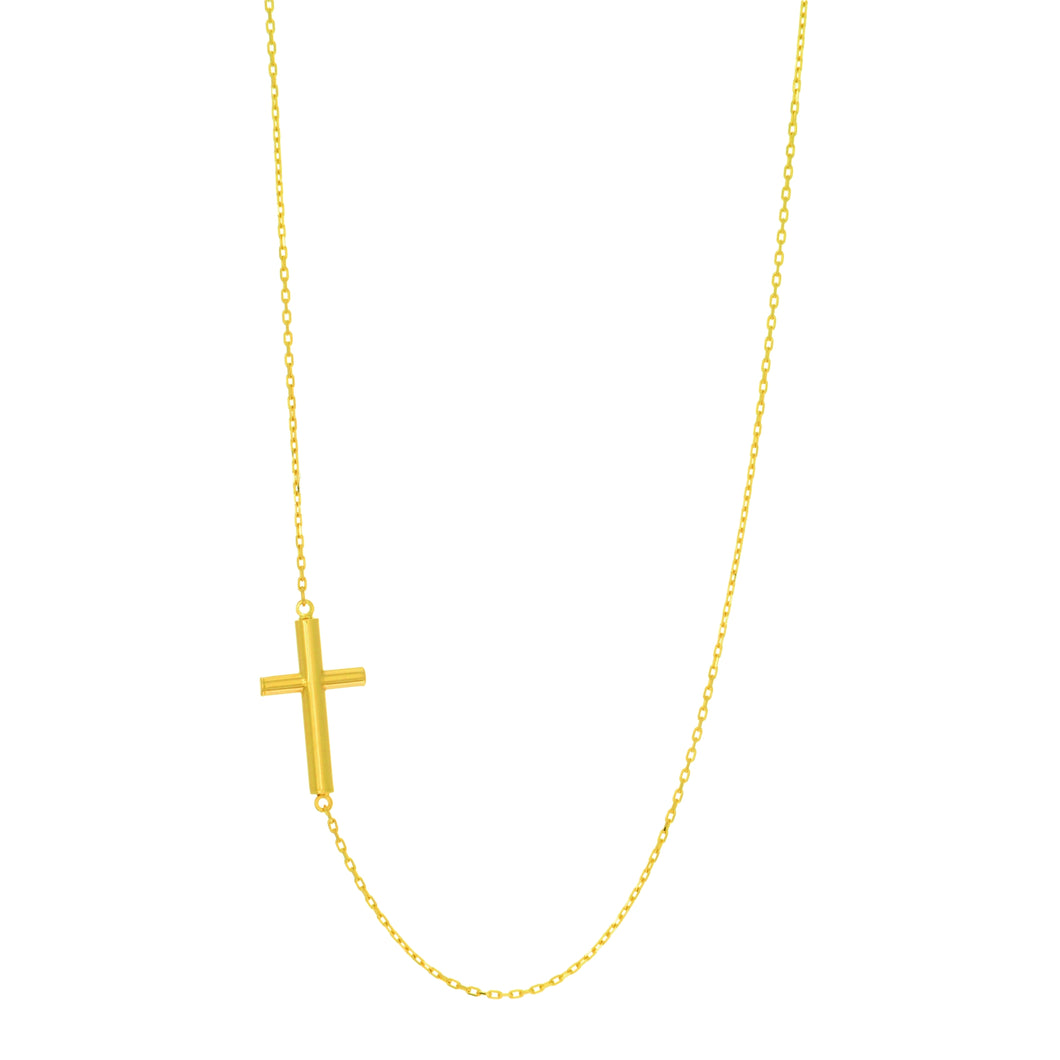 14kt Yellow Gold 17 inches+Extention 1.0 inches 0.9mm Oval Cable Link Cross Necklace with Spr ing Ring Clasp