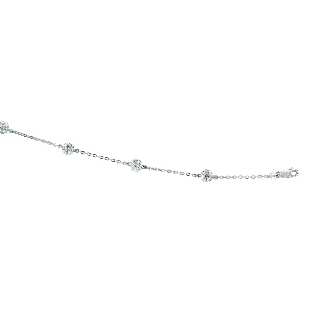 14kt 7.25 inches White Gold Shiny Cable Chain Link+White Crystal Ball Bracelet with Lobster Clasp