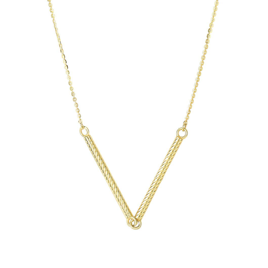 14kt 18 inches Yellow Gold Shiny 2-1.7x25mm Long Textured Sideways Cylinder Shape Station On 0.87mm Diamon d Cut Cable Chain Type Necklace with Spring Ring C