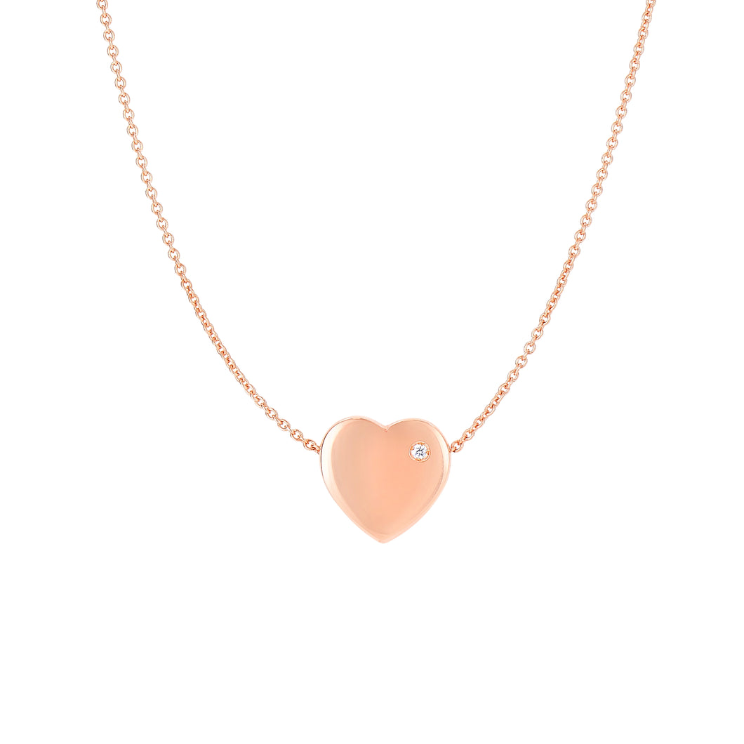 14kt 16+1 inches Extension Rose Gold 10.9x10.7x4.1m m Shiny Puff Heart+0.01ct.Diamond On 0.95mm Diamond Cut Oval Link Necklace with Lobster Clasp
