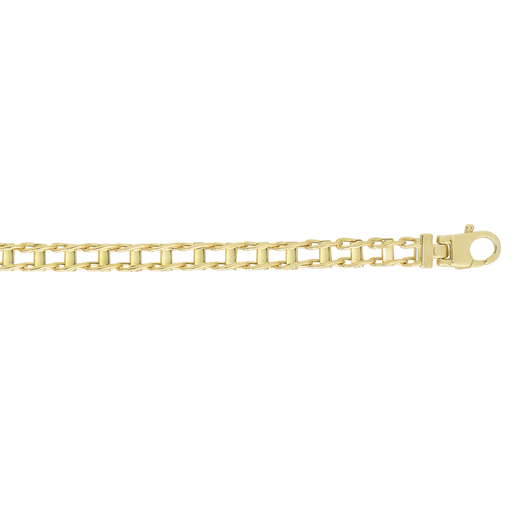 14kt 8.5 inches Yellow Gold 5mm Shiny Rail Road Style Fan cy Link Bracelet with Lobster Clasp