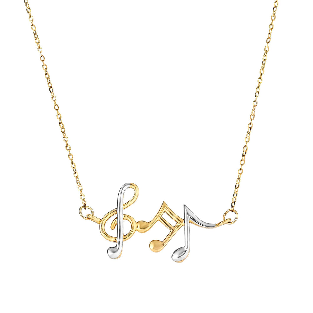 14kt 17 inches Yellow+White Gold Musical Notes Necklace Anchored to Link Chain with Spring Ring Clasp