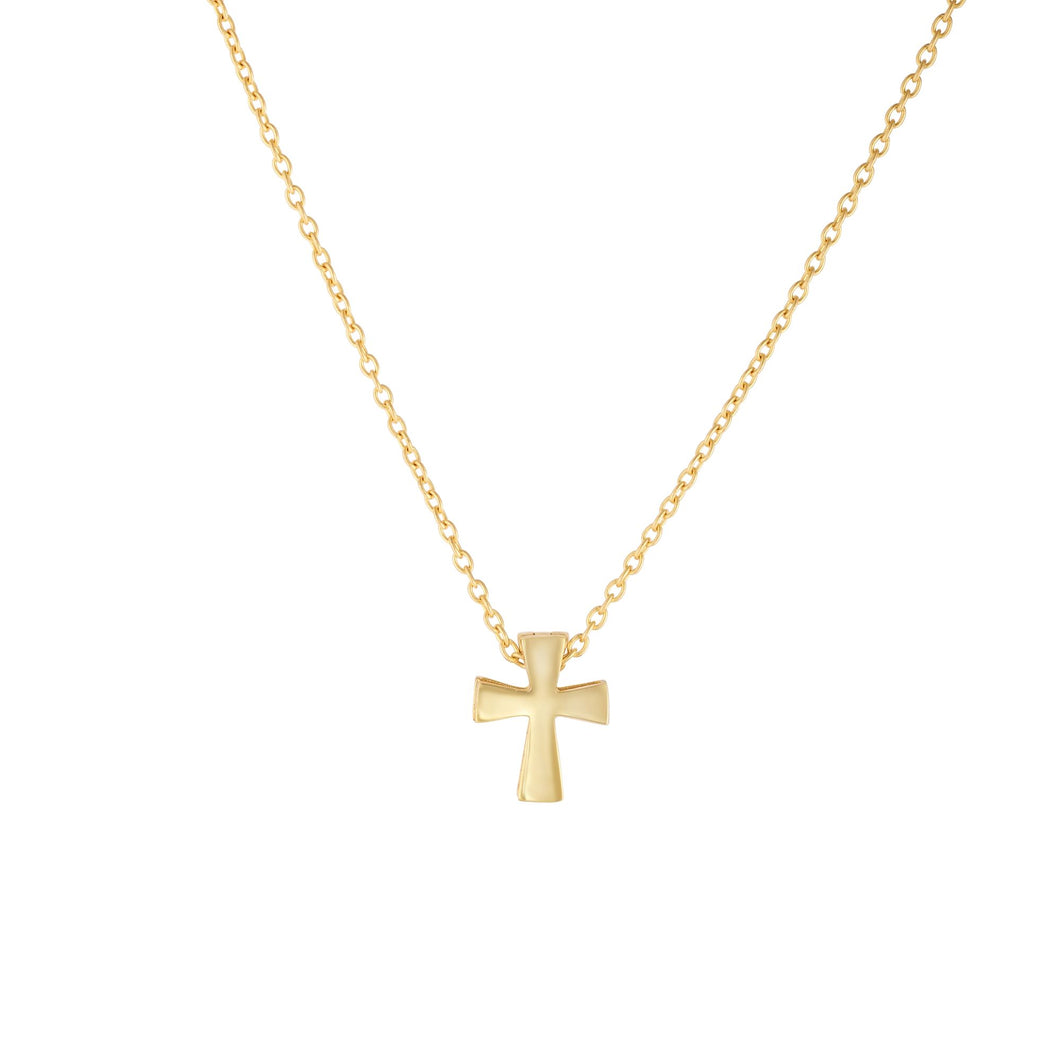 14kt 17 inches+1 inches Extension Yellow Gold Shiny 8x10mm Fancy Clip Cross Pendant on 1.1mm Cable Link Necklace with Spring Ring Clasp