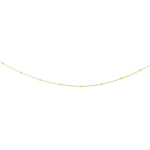 14kt Gold 18 inches Yellow Finish 1.75mm Shiny+Diamond Cut Fancy Bead+Link Necklace with Spring Ring Clasp