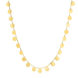 14K Gold Dangling Circle Necklace