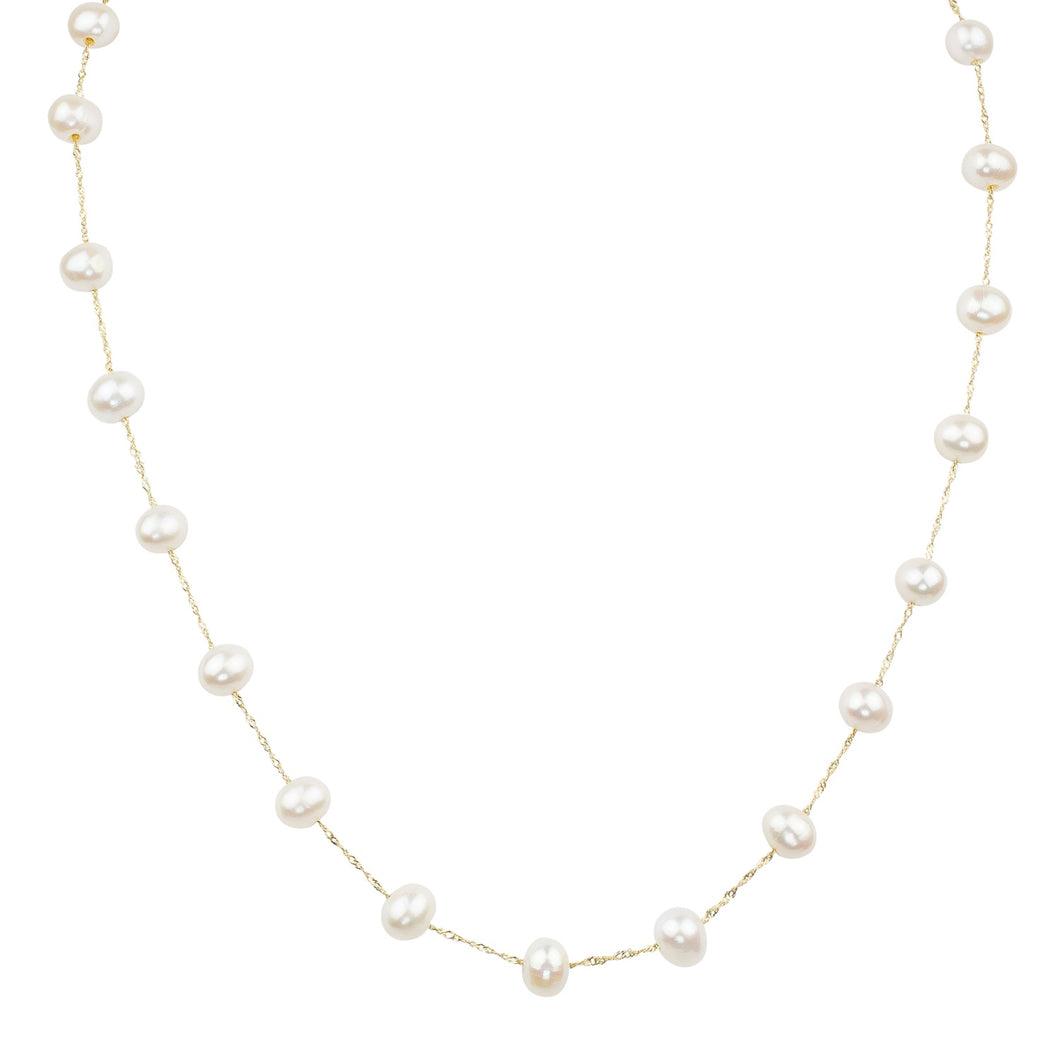 14K YELLOW GOLD WHITE FRESH WATER PEARL NECKLACE