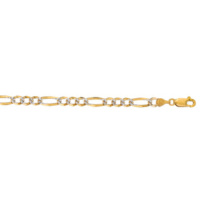 14kt Gold 22 inches Yellow Finish 4.75mm Diamond Cut Classic Pave Figaro Bracelet