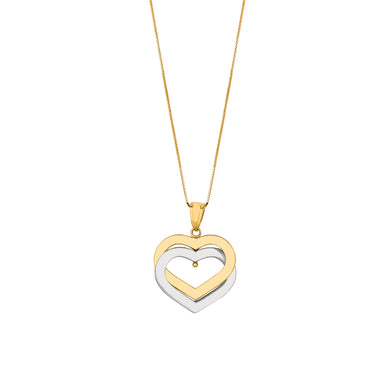 14K Gold Two Tone Heart Pendant Necklace