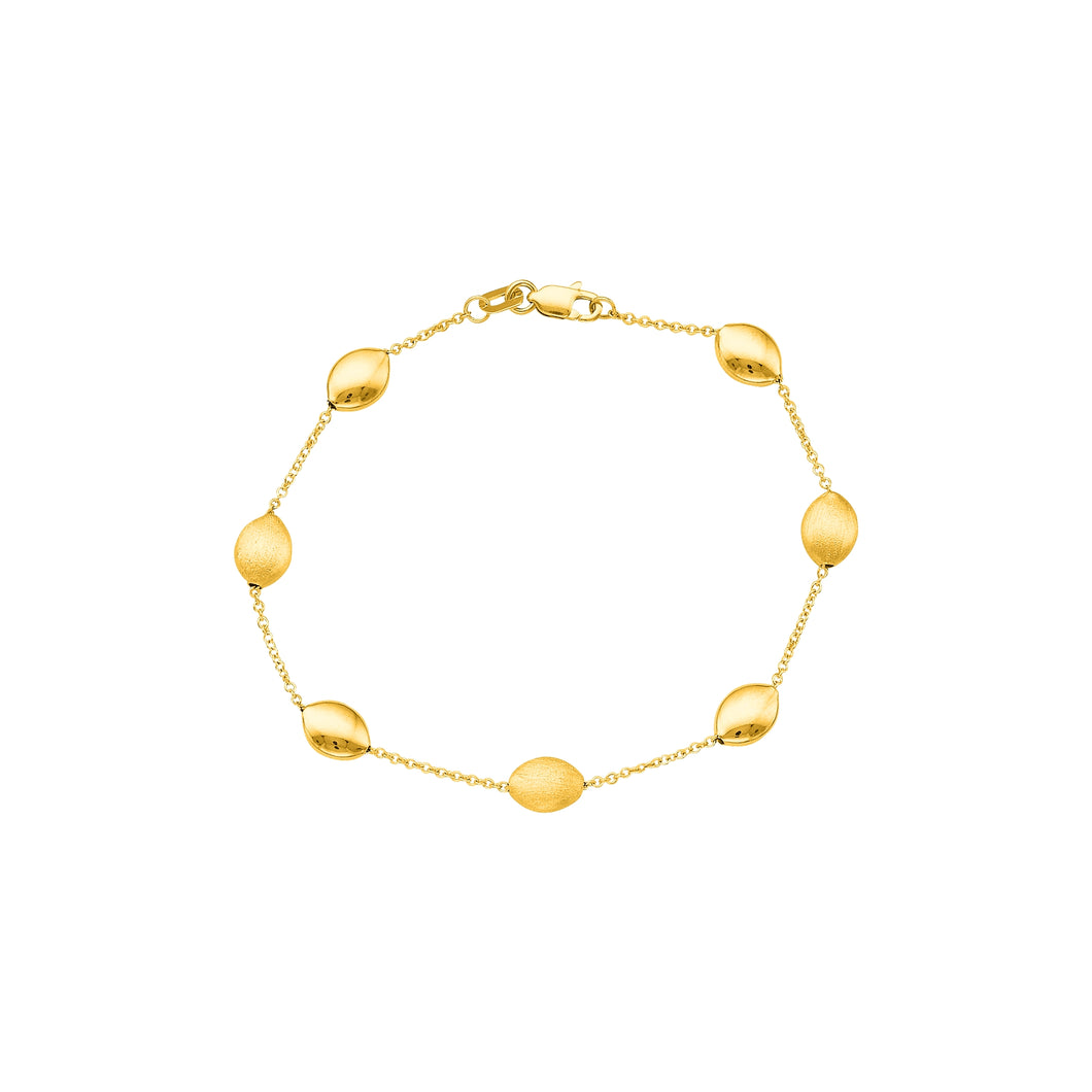 14kt 7.25 inches Yellow Gold Cable Chain Link with Alternate Shiny and Textured Pebble Bracelet with Lobster Clasp