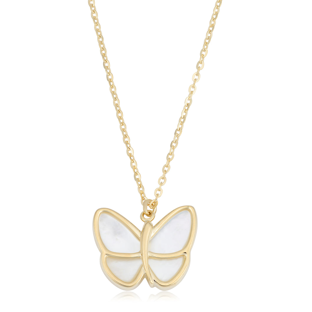14K Yellow Gold Mother of Pearl Butterfly Pendant