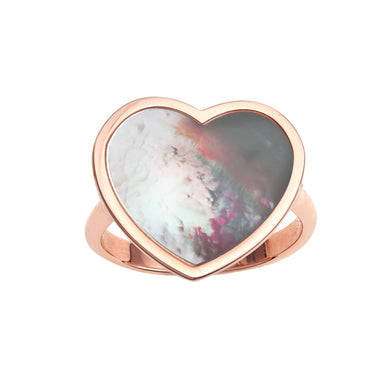14kt Gold Size-7 Rose Finish 17.8x19x1.6mm Polished Heart Ring  with  16x16mm Flat Heart White Mother of Pearl
