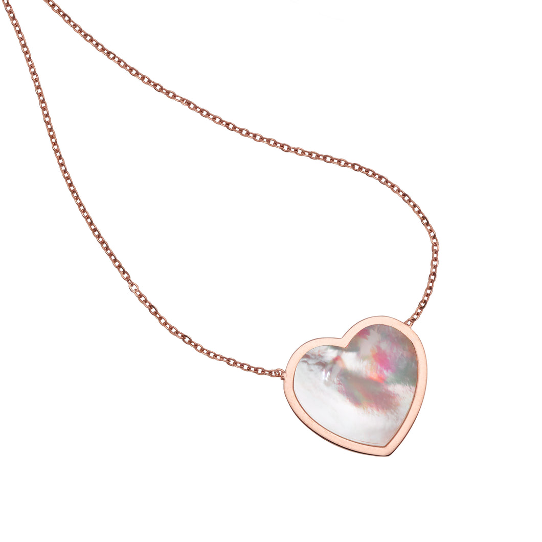 14kt Gold 18 inches Rose Finish Chain:1mm Polished 2 inches Extender Necklace with Lobster Clasp with  16x16mm Flat Heart White Mother of Pearl